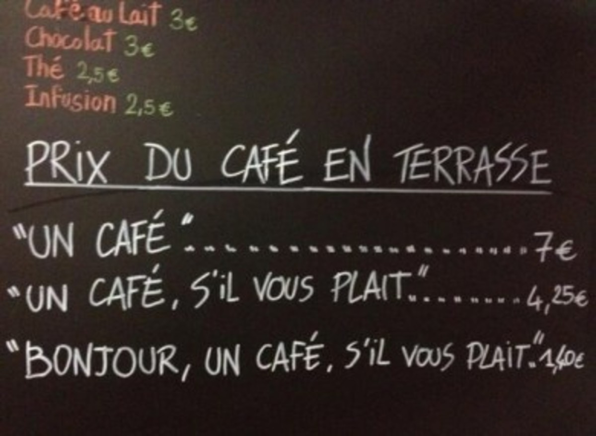 """One coffee"" ...7€    ""One coffee, please"" ...4.25€    ""Hi, one coffee, please"" ...1.40€"