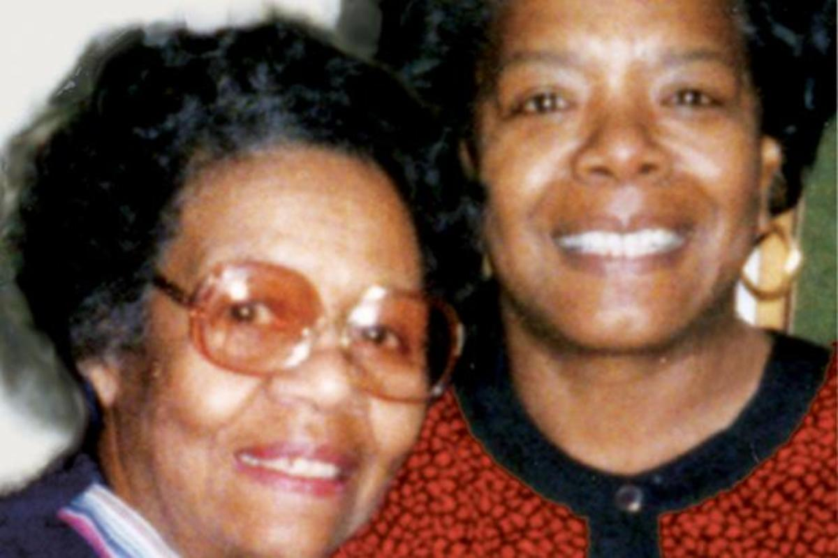 "Angelou is pictured here with her petite powerhouse of a mom, Vivian ""Lady"" Baxter.  She was a lady, but don't cross her."