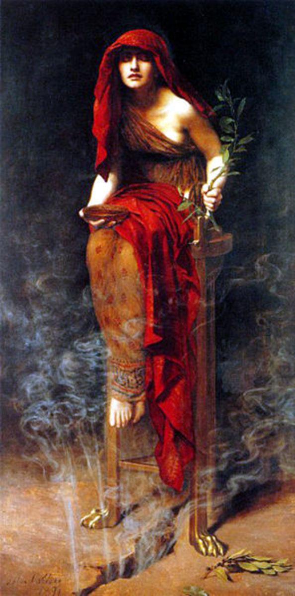 John Collier (1850–1934) - Priestess of Delphi (1891) PD-art-100