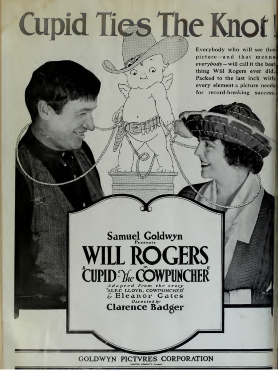 Ad for a Will Rogers's silent film released in 1920, Cupid the Cowpuncher, directed by Clarence Badger.