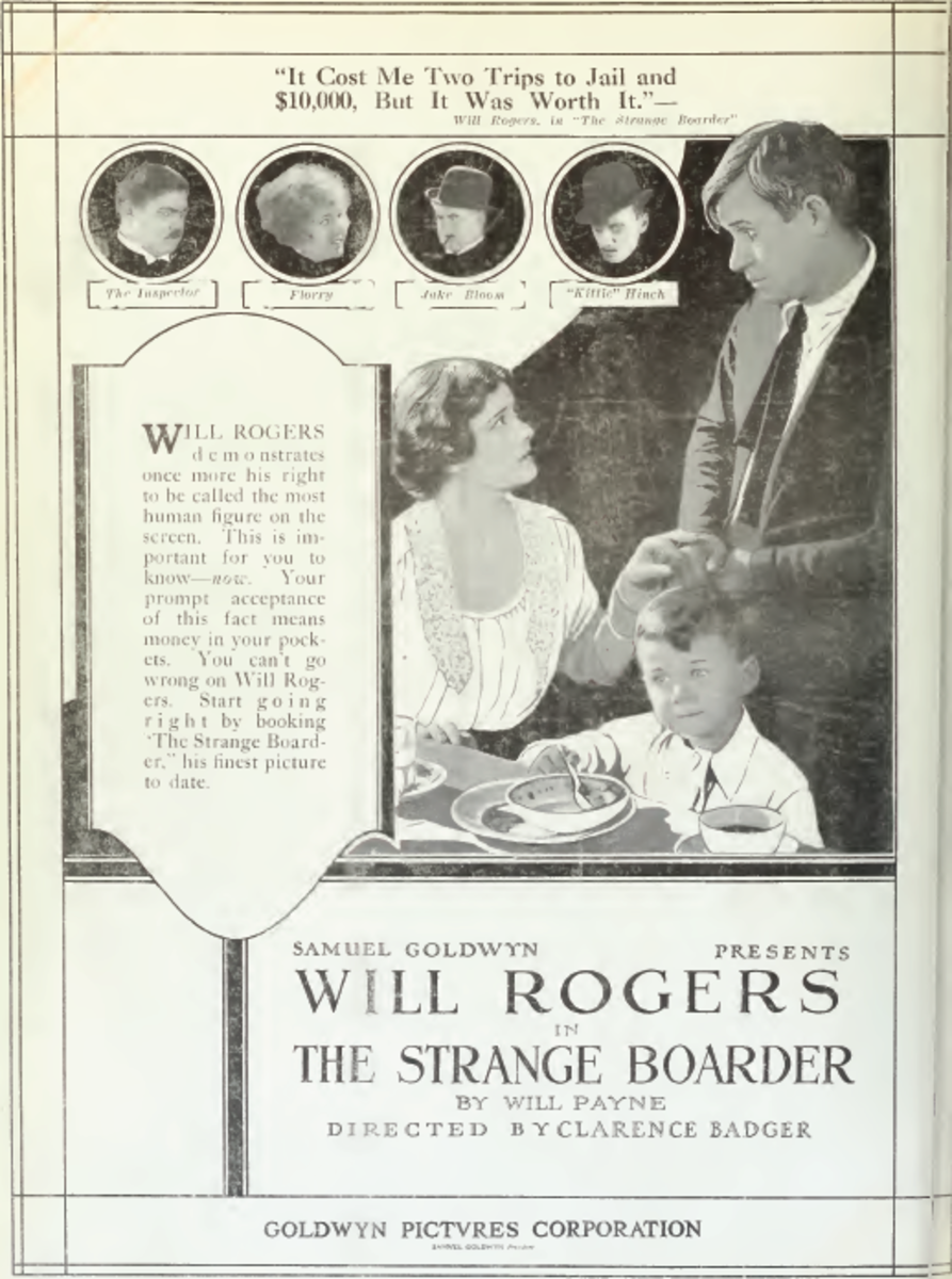 Poster for 1920 film, The Strange Boarder, starring Will Rogers.