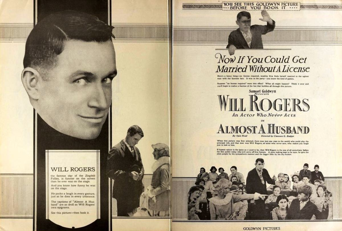 Poster for 1919 film with Will Rogers: Almost a Husband. pages 1534 and 1535 of the August 23, 1919 Motion Picture News.