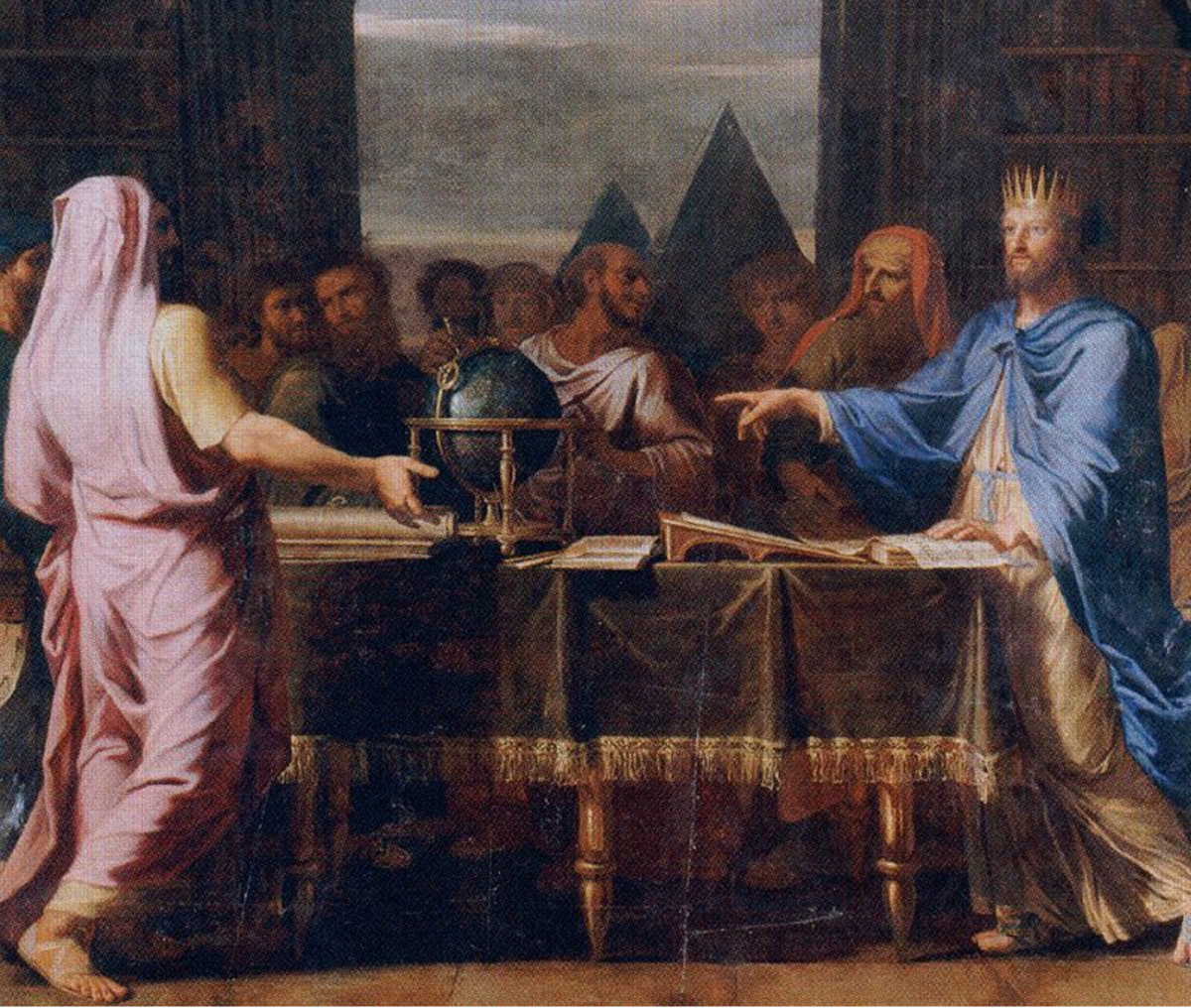 Ptolemy II with scholars at the Royal Library of Alexandria