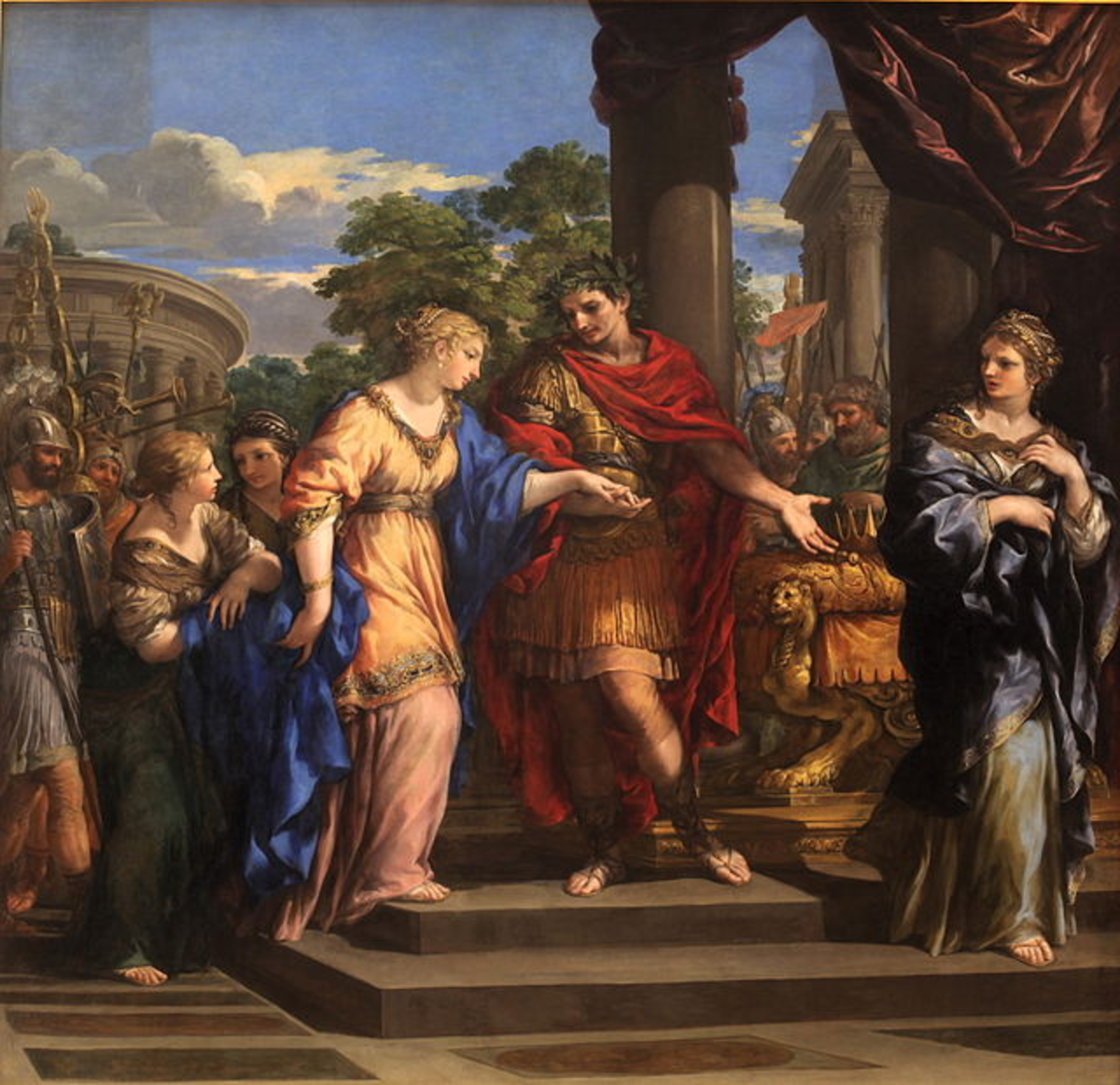 Caesar placing Cleopatra back on the throne of Egypt