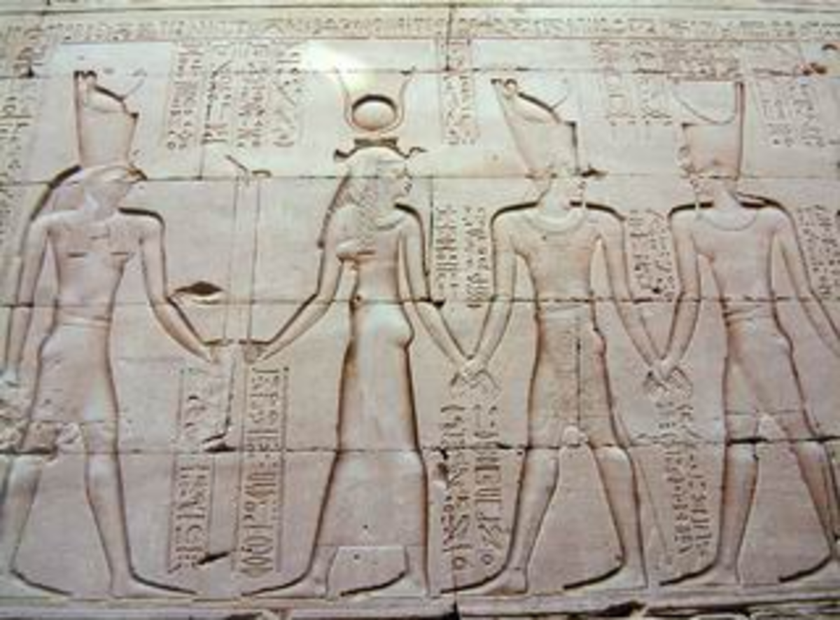 Horus with Cleopatra II, Ptolemy VI and Ptolemy VIII