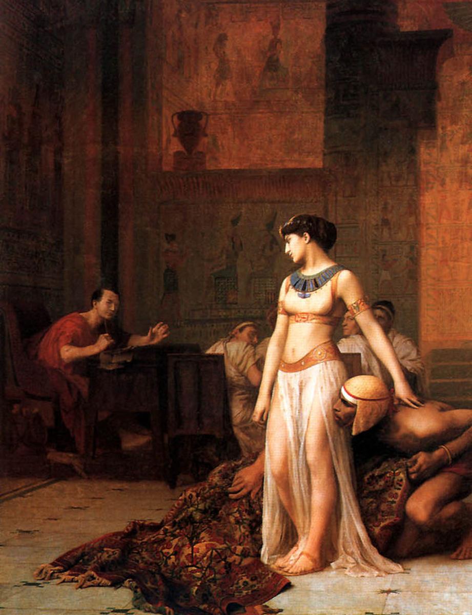 Cleopatra meeting Julius Caesar