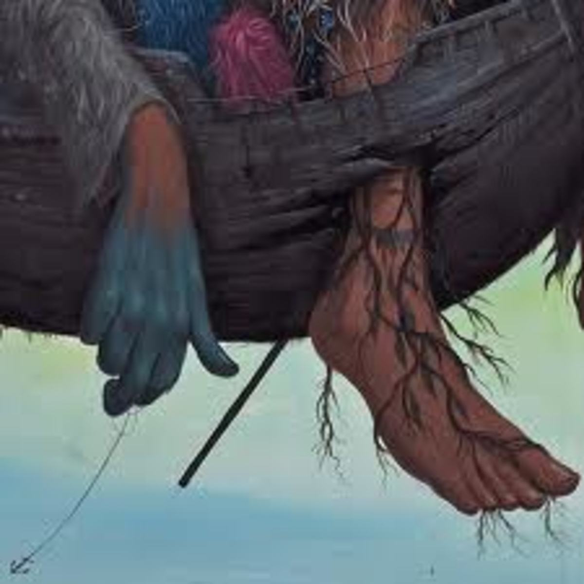 a close up of the details, showing the remaining humanity of the creature.