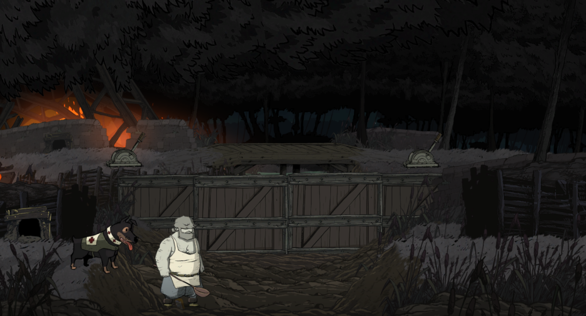 Emile pushes through a huge crash site in Valiant Hearts.
