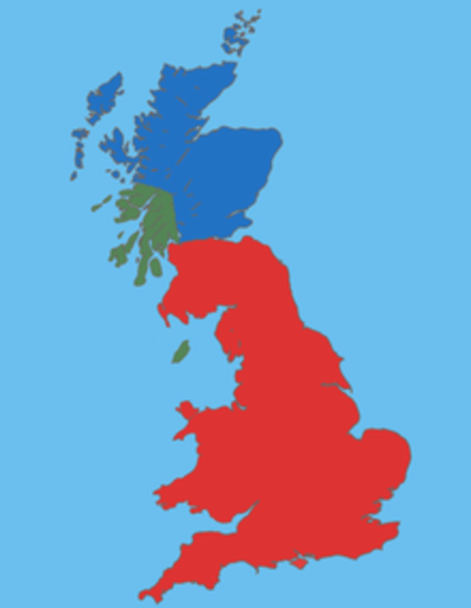 Great Britain in the second half of the 5th century AD, between Roman withdrawl and founding of the Anglo-Saxon kingdoms.  Green area - mainly Goidelic areas, blue area - mainly Pictish areas, red area - mainly Brittonic areas