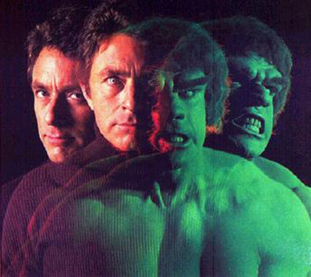 Dr. David Banner (played by Bill Bixby) transforms into the Hulk, as played by Lou Ferrigno.