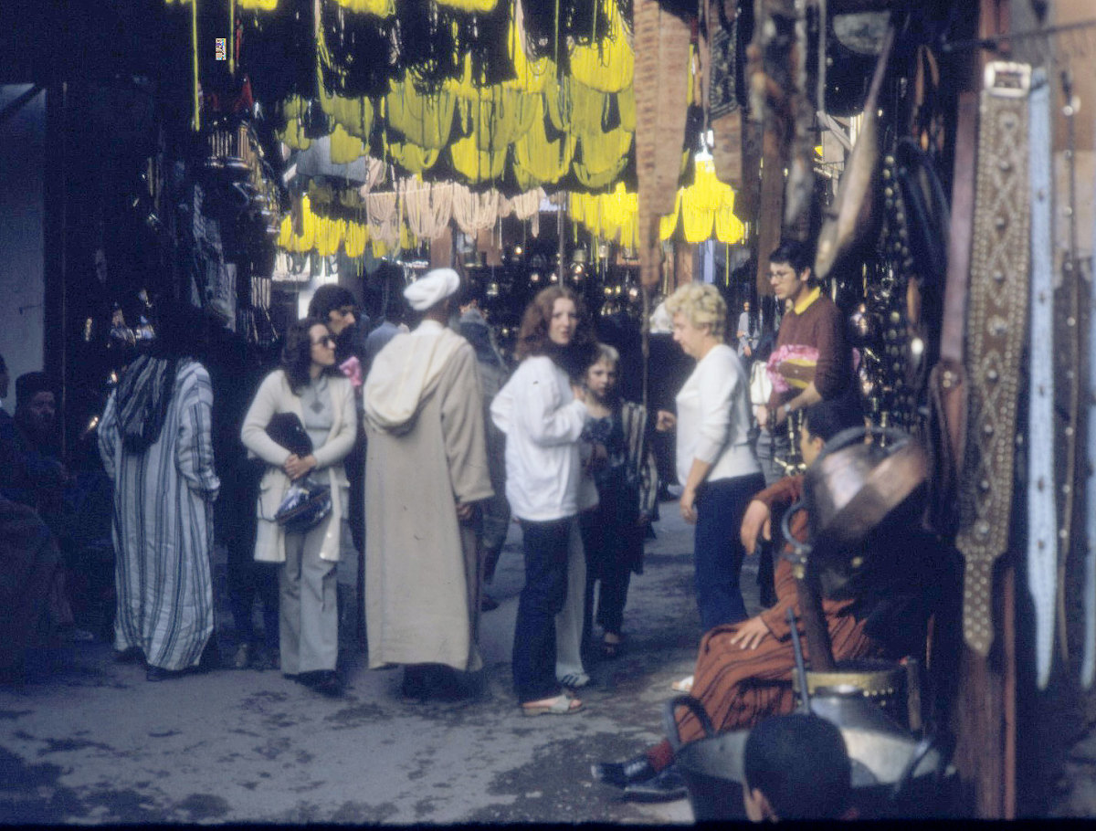 My little brother and my mum in the souk at Marrakesh, many many years ago. See that look on my mum's face? She really didn't approve.