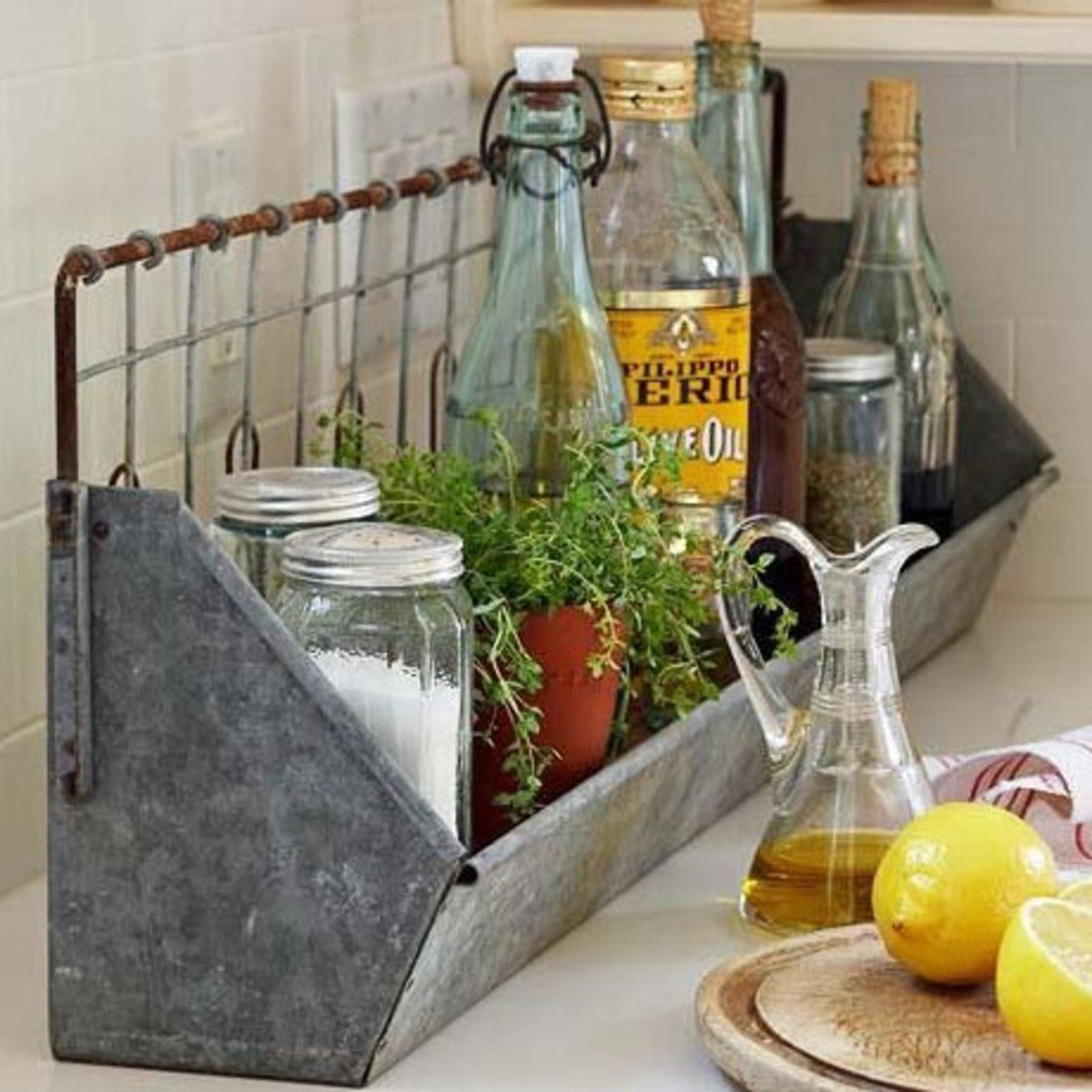Chicken Feeder Storage for Oil and Vinegar   Easy Organization Ideas for the Home