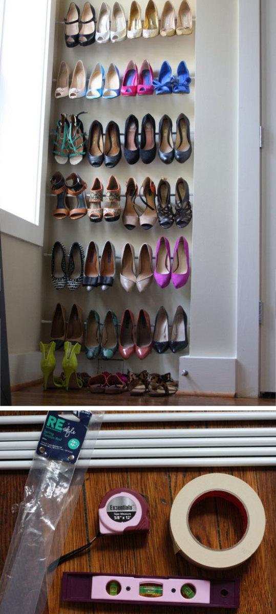 5 Minute Shoe Storage   DIY Organization Ideas for Girls Bedrooms