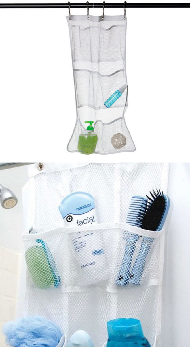 Shower Pocket Organizer | Easy Storage Ideas for Small Spaces | Easy Bathroom Organization Tips
