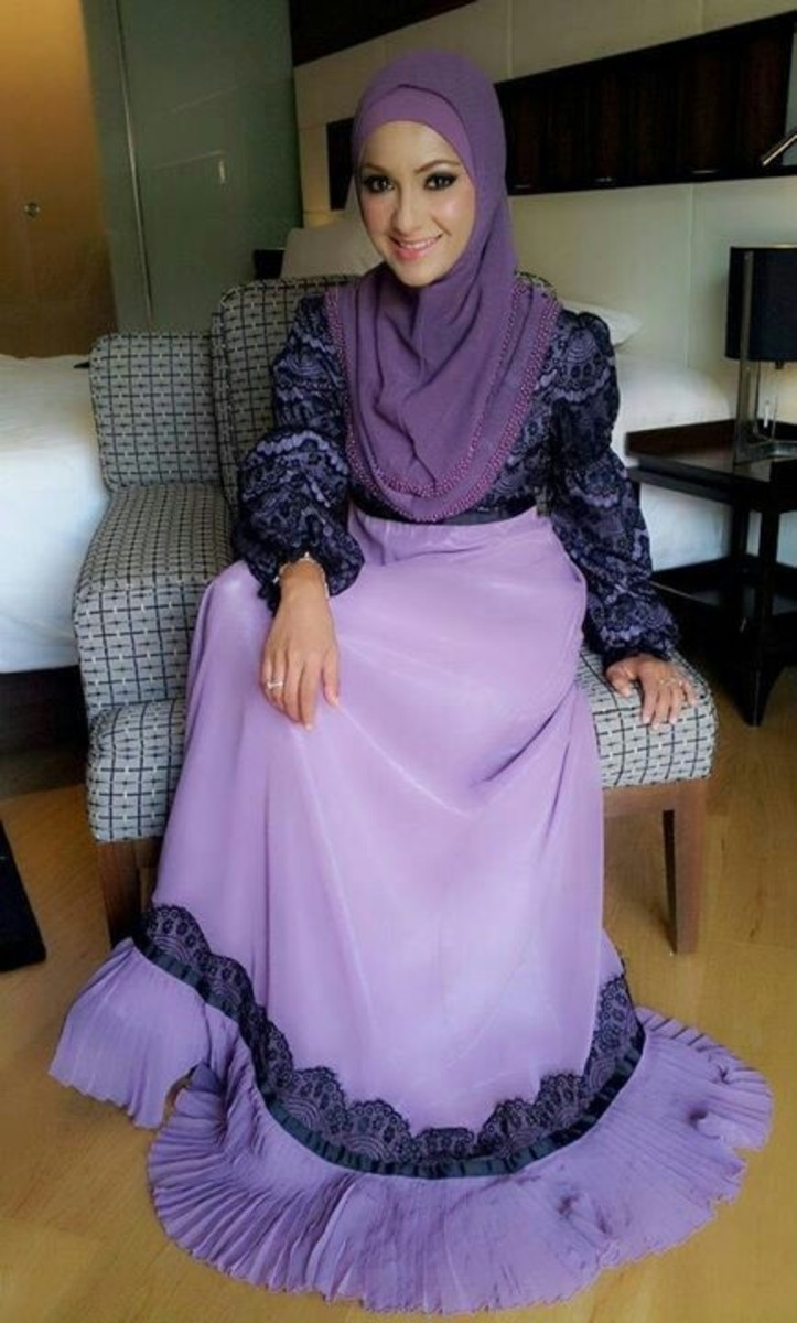 Purple abaya with hijab