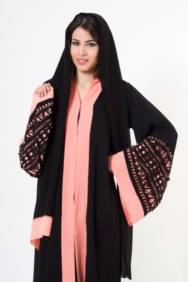 Black and Light Peach abaya