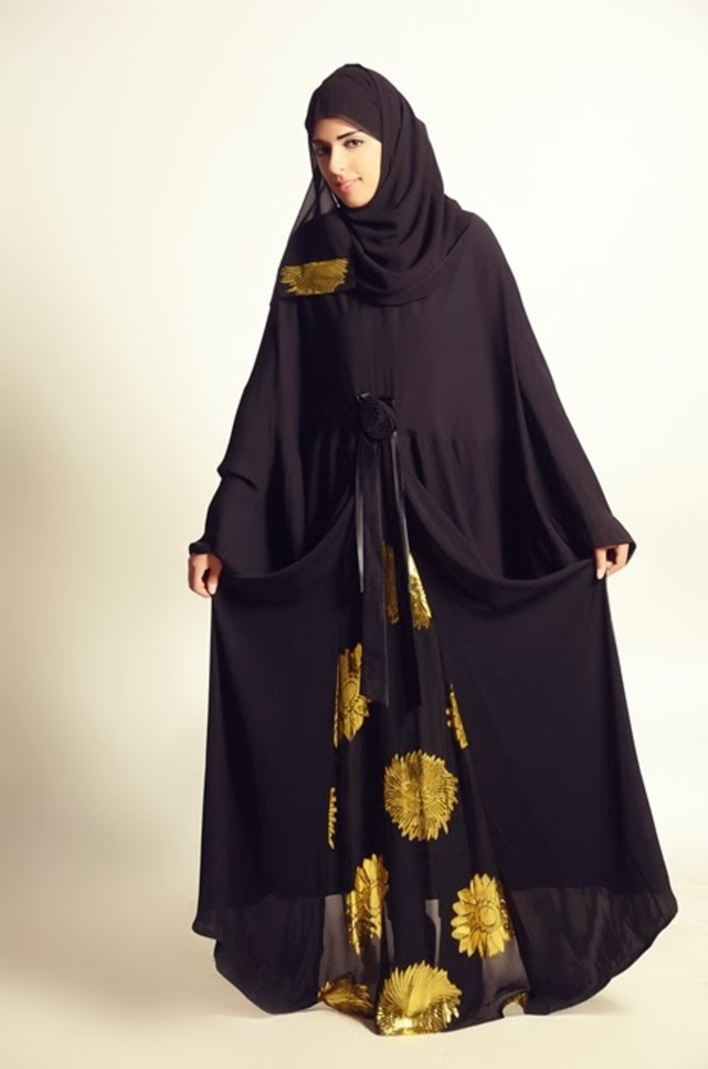 Black abaya with yellow flowers