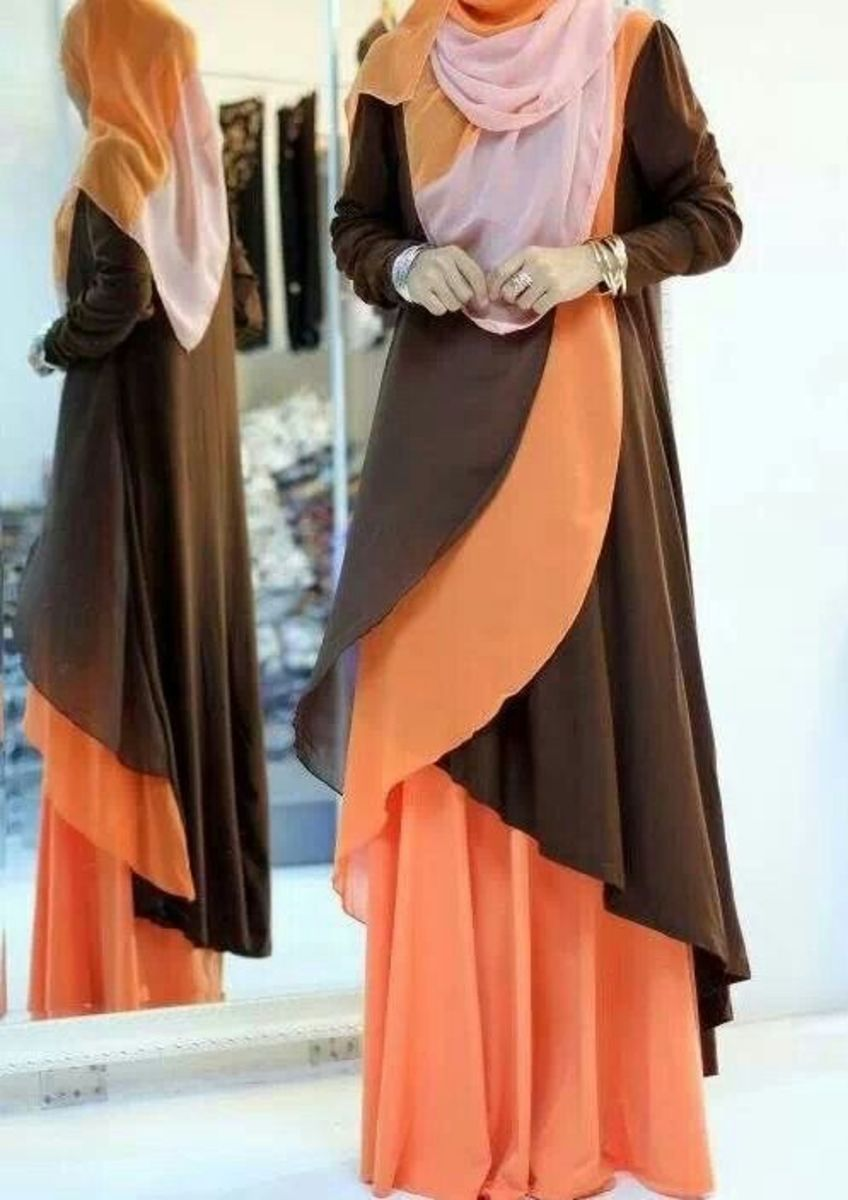Layered abaya in orange and chocolate