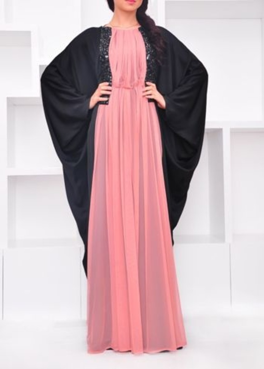 Black and peach burqa