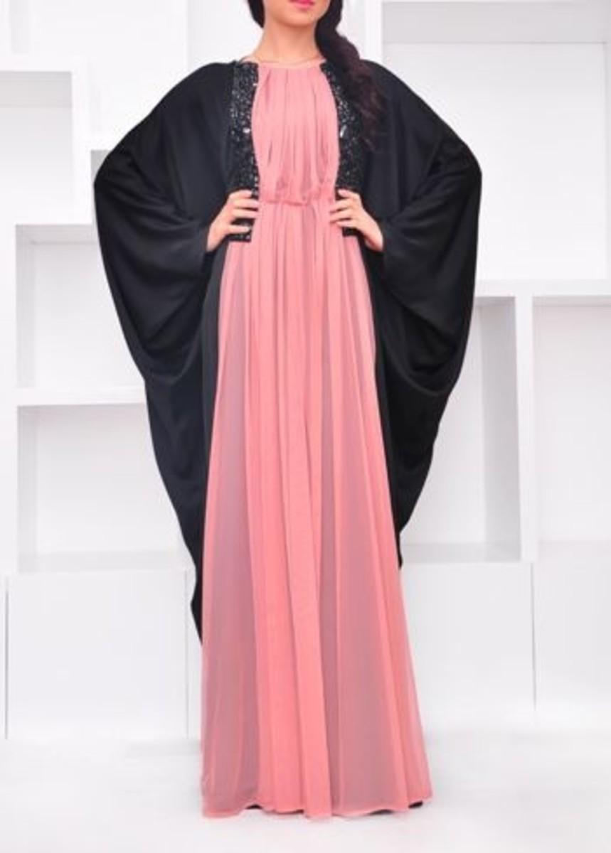 Black and peach burqa