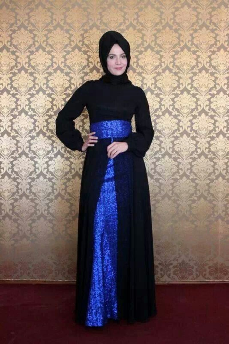 Unique Black and blue abaya design