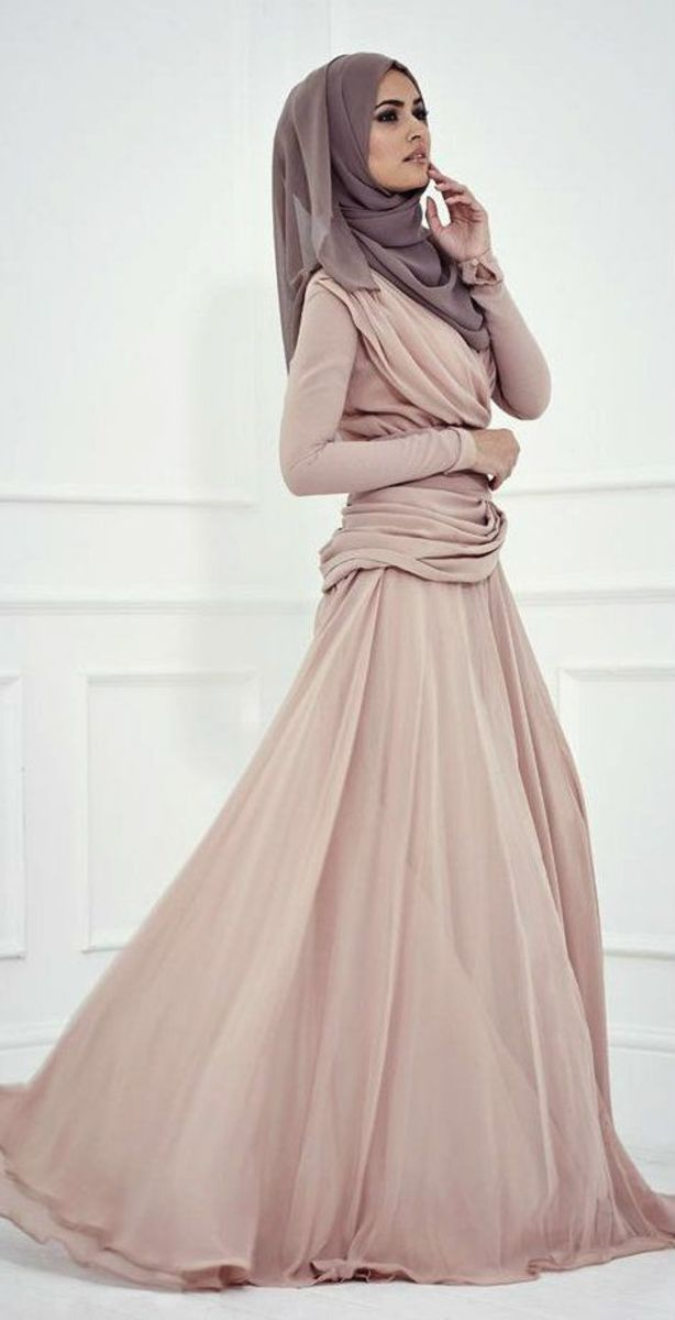 taupe coloured long gown