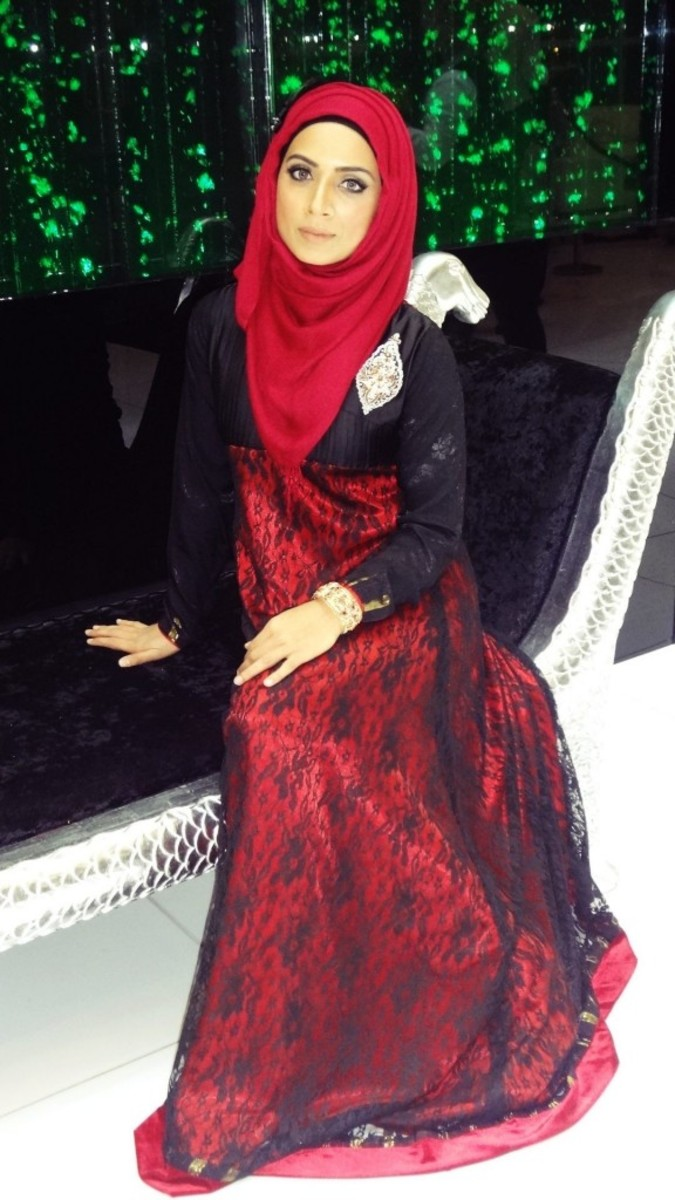 Red and Black Lace Abaya style