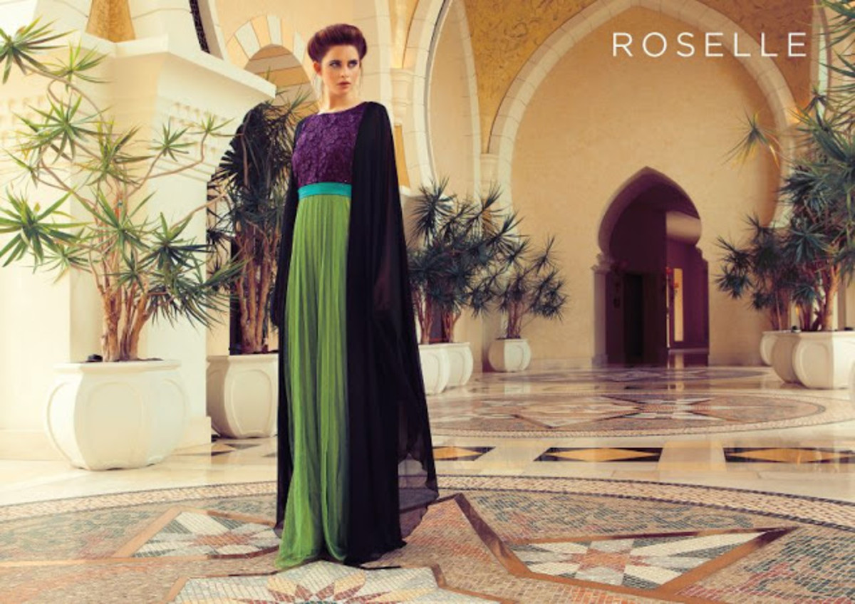 Gorgeous Green and Purple Abaya by Fashion House Roselle from Dubai