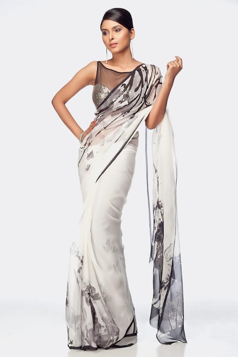 Black and White simple elegant saree. Satya Paul Designer Saree and Designer Blouse.