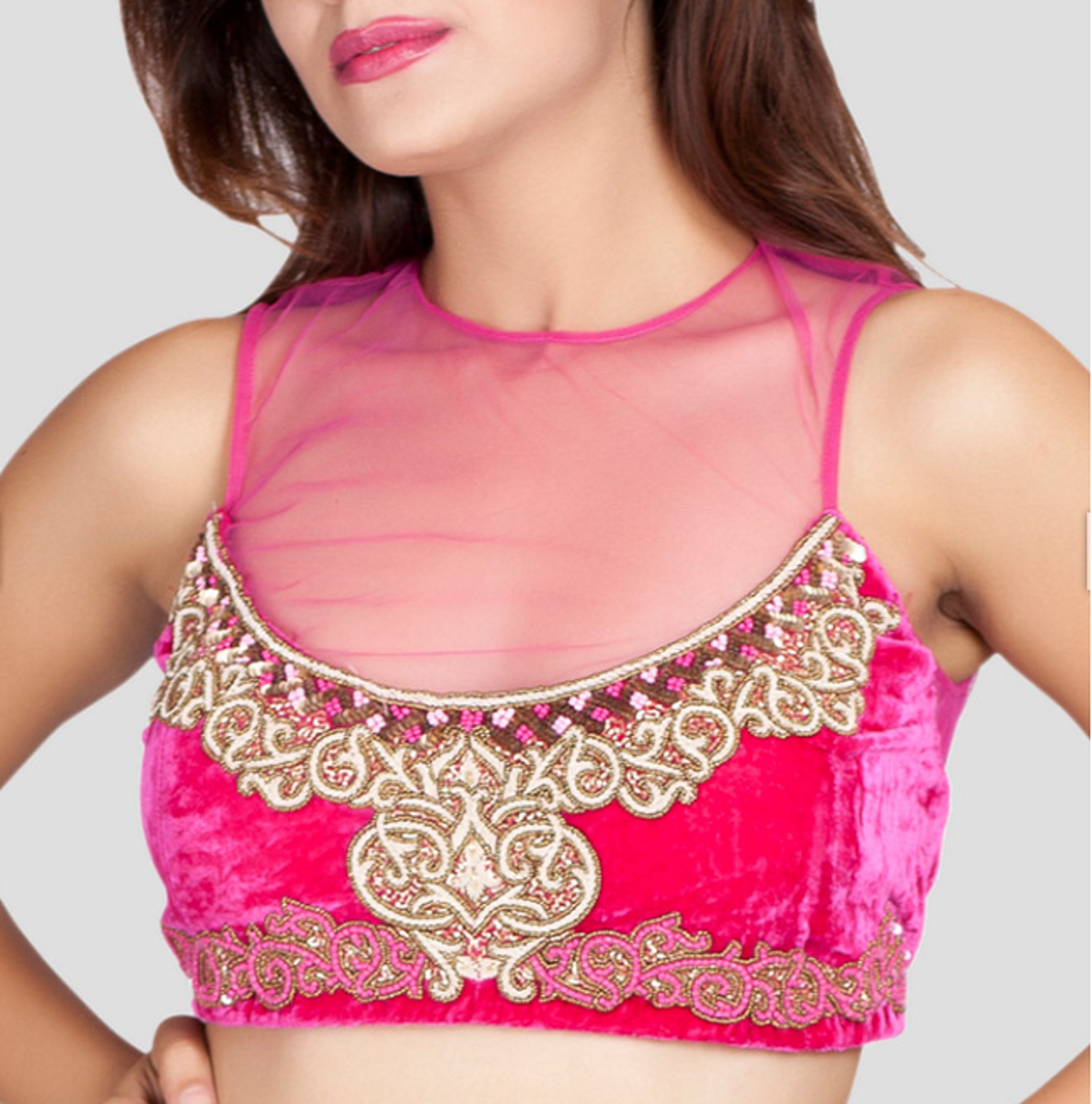 latest trend in saree blouse design is half body lining and half body transparent.