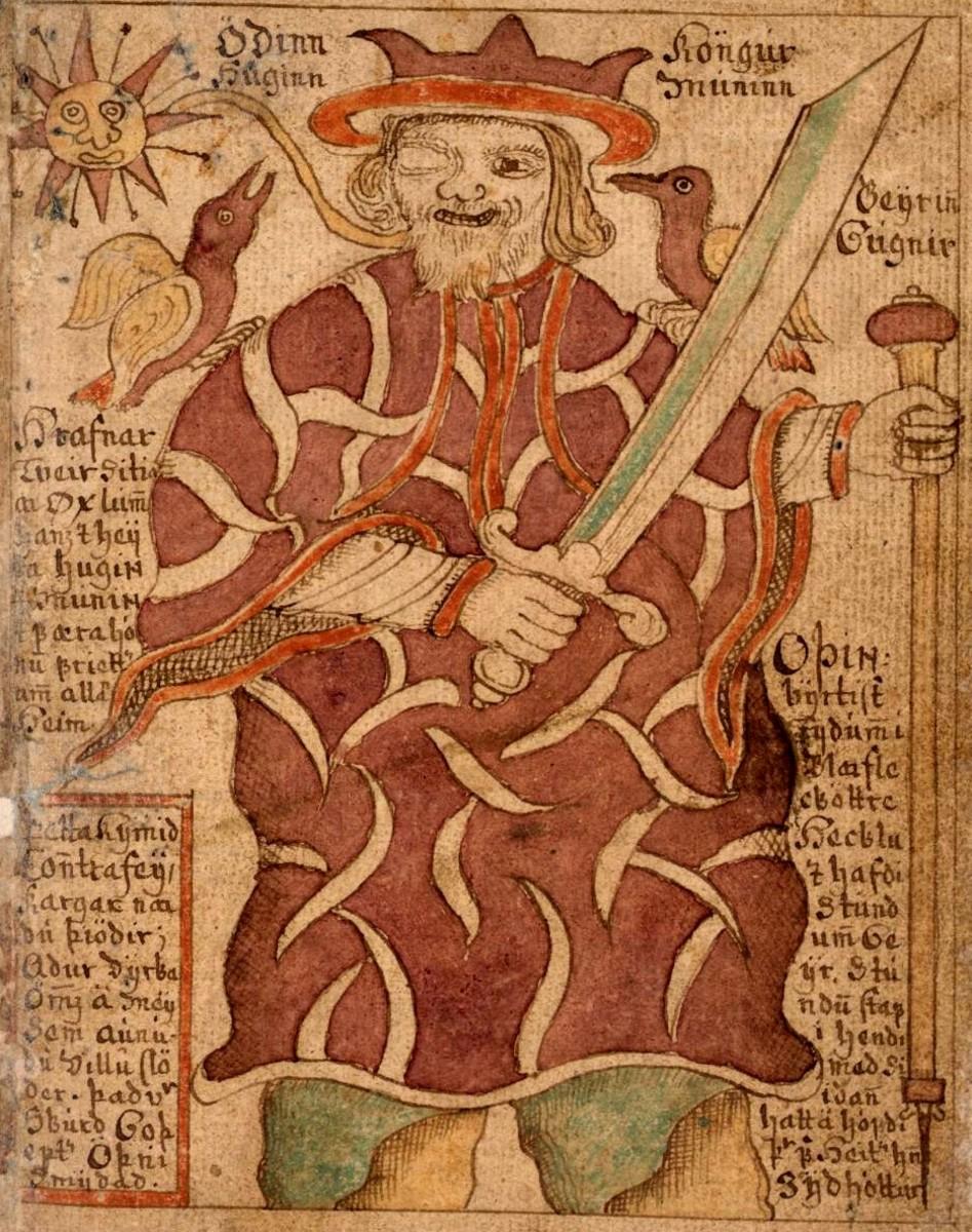 Odin with the Raven deities Huginn and Muninn