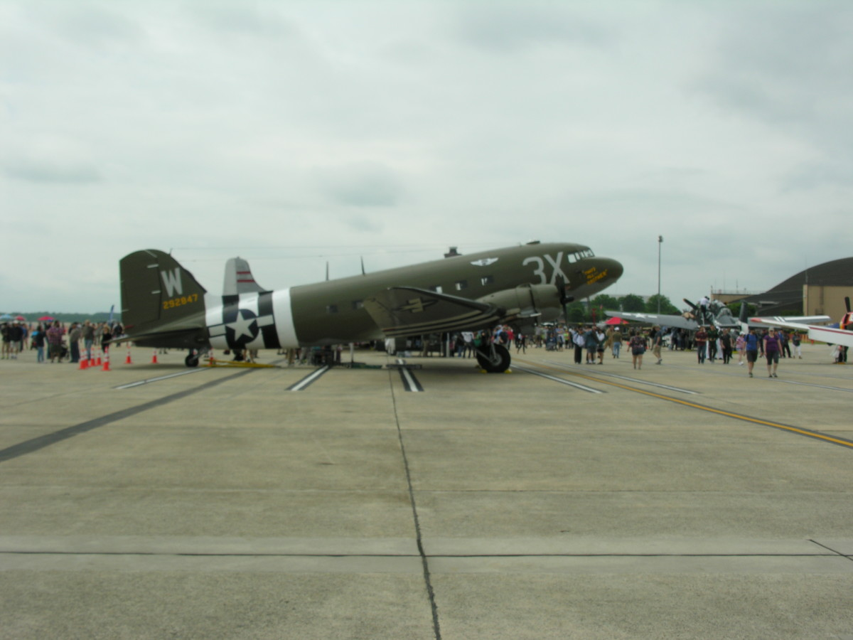 """A C-47 sporting """"Invasion Stripes"""", Andrews AFB, MD, May 11, 2019."""