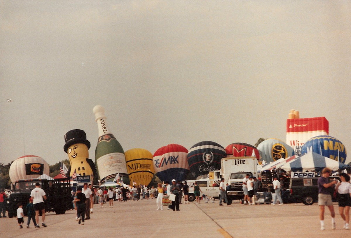 Hot air balloons preparing for a balloon race at the end of an Andrews AFB Open House.
