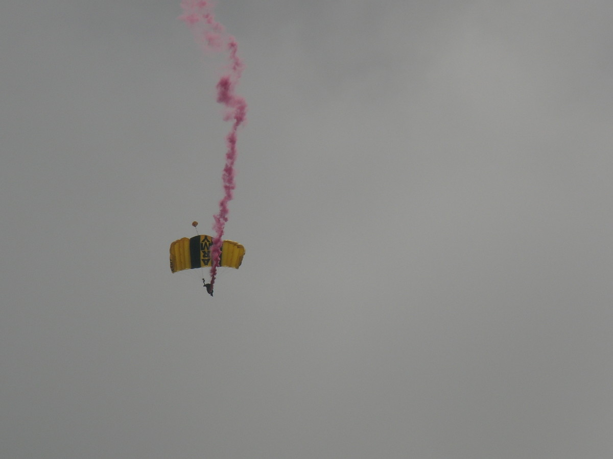 A member of the U.S. Army Golden Knights parachute demonstration team.