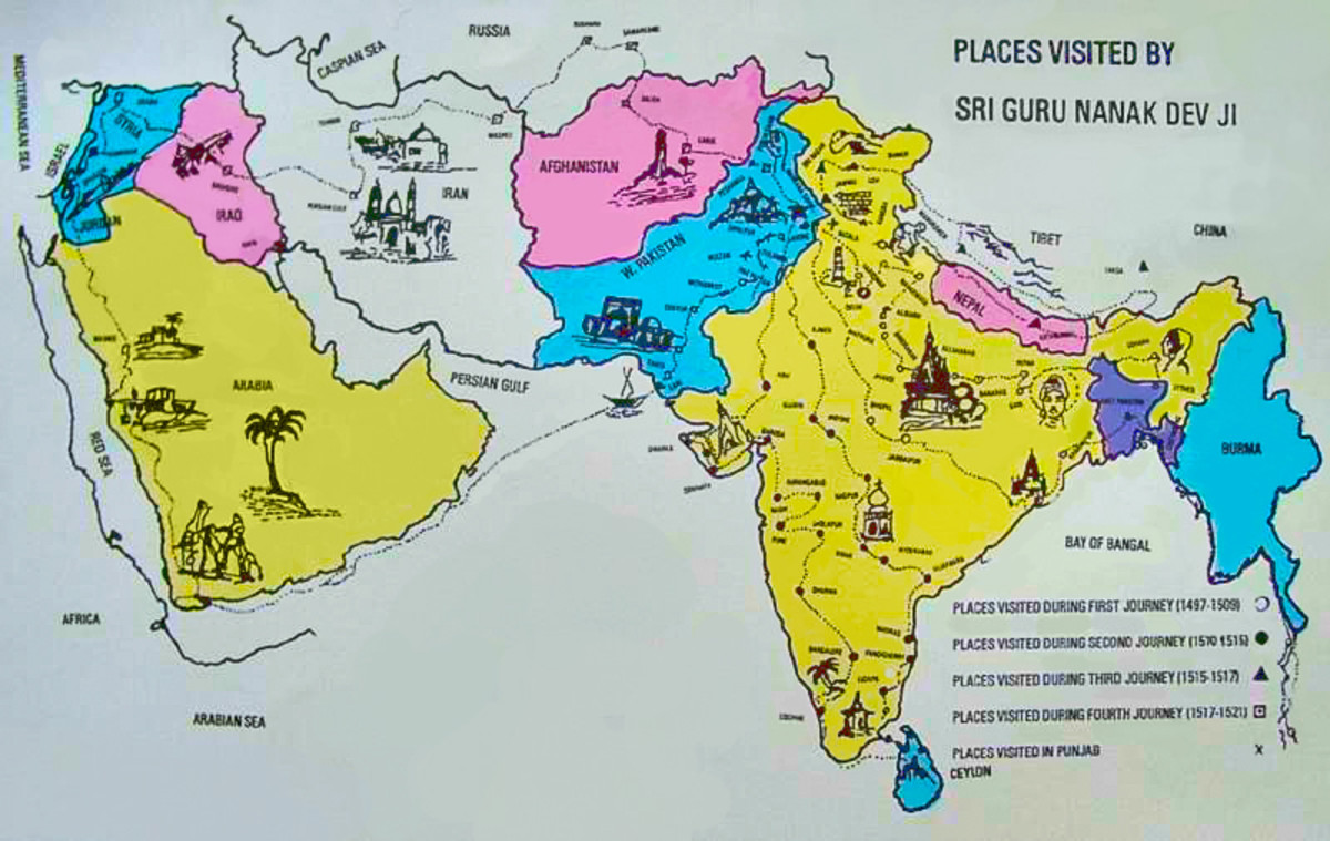 The places visited by Guru Nanak Dev Ji during his travels to spread the divine message