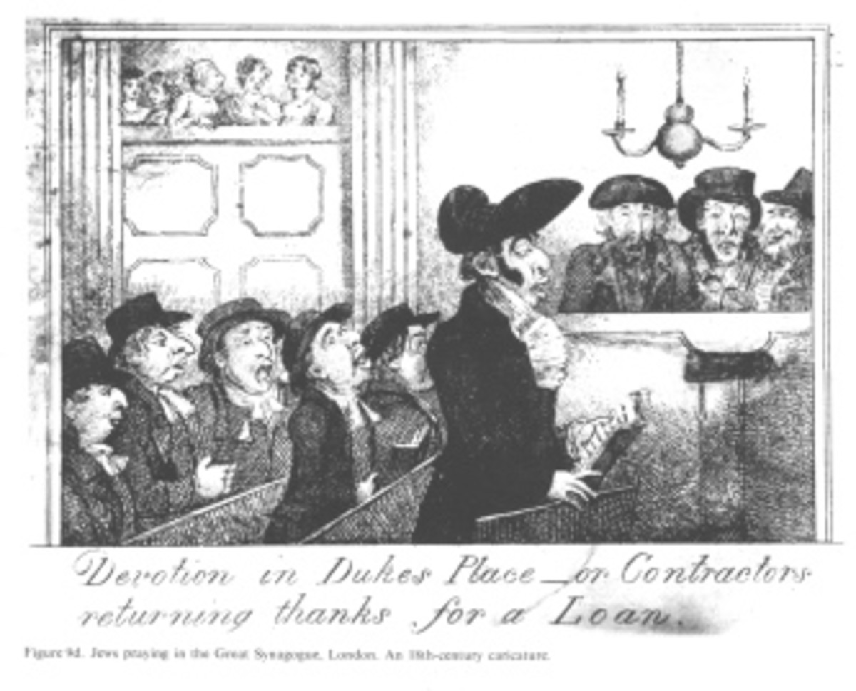"""Encyclopaedia Judaica (1971): Anti-Semitism, vol. 3, col. 141-142b: Jews praying in the Great Synagogue, London.  """"Devotion in Dukes Place - or Contractors returning thanks for a Loan."""""""
