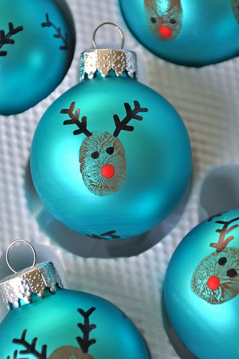 Thumbprint Reindeer Ornaments