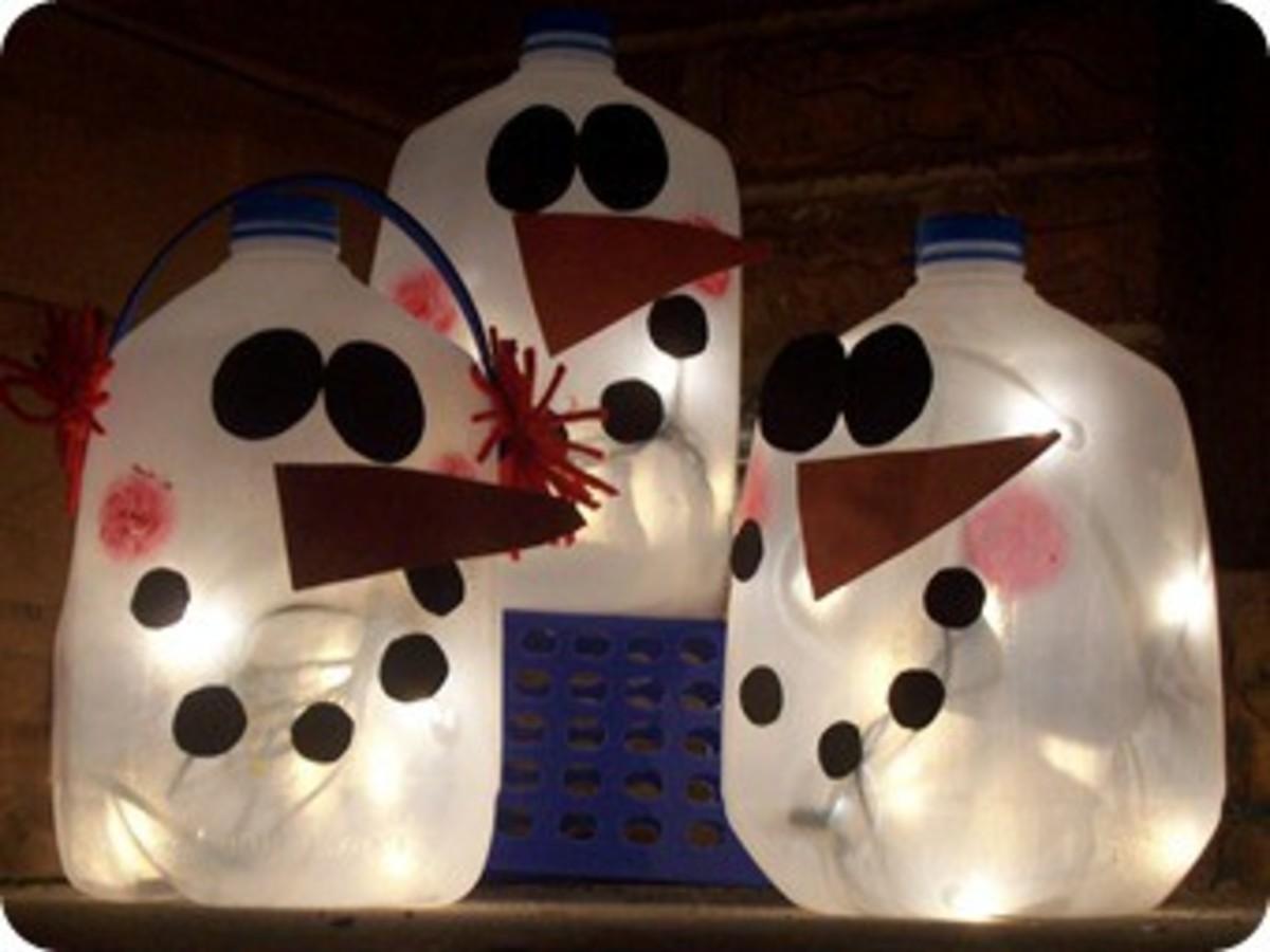 Milk Jug Snowman Lanterns