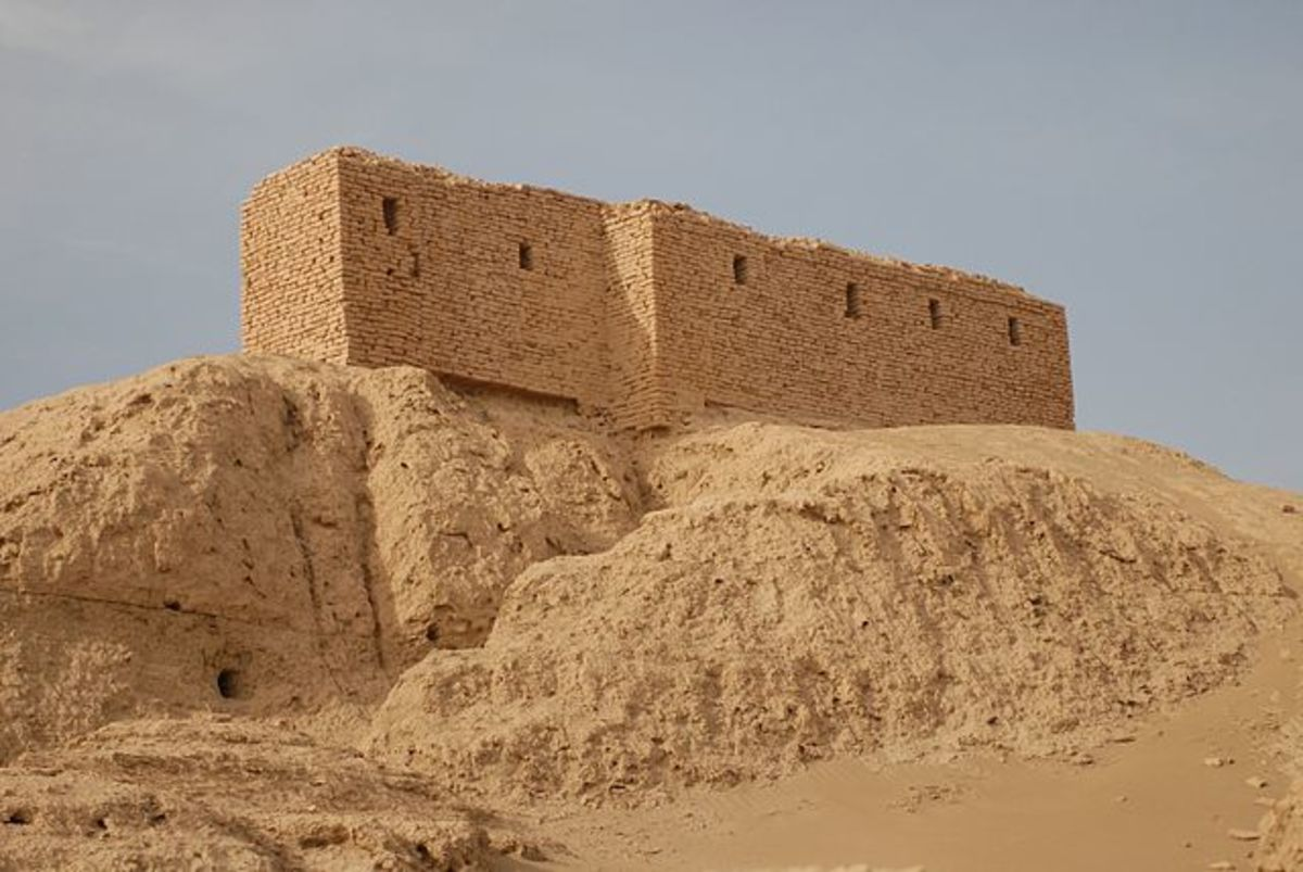 Ruins of a temple platform in Nippur-the brick structure on top was constructed by American archaeologists around 1900.