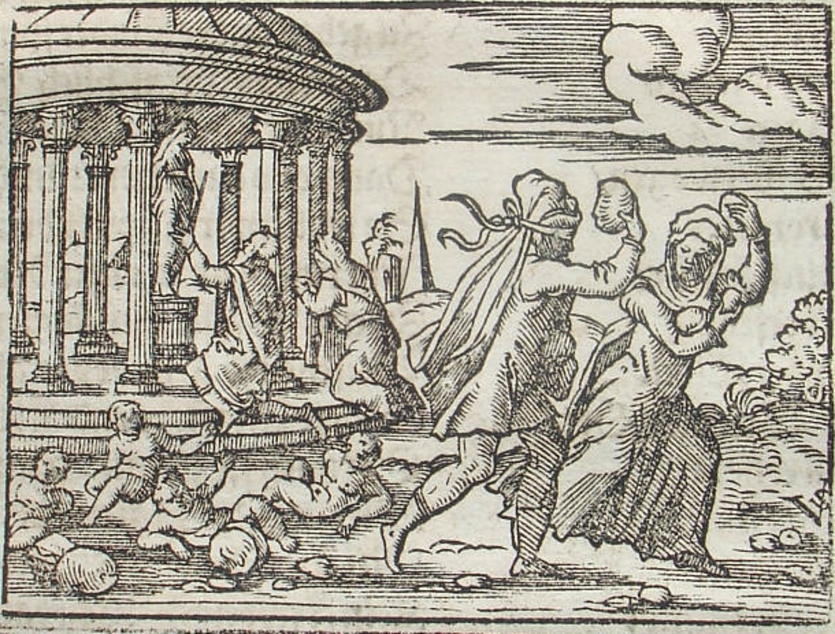 Engraving by Virgil Solis Deucalion and Pyrrha from a 1562 version of Ovid's Metamorphoses.