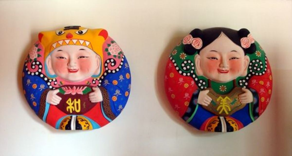 """Nanshan Buddhism Park - Yu's Clay Sculptures, """"He He"""" and """"Mei Mei"""""""