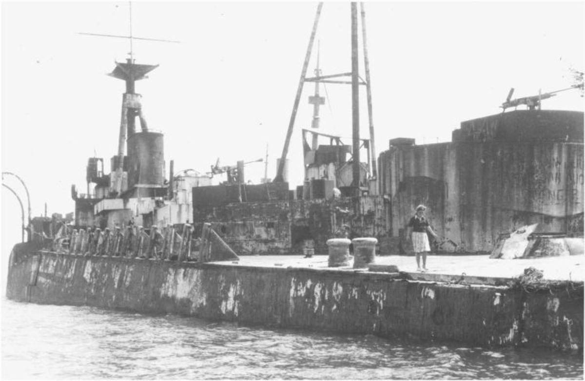 Final resting place of HMS Centurion as a D-Day blockship