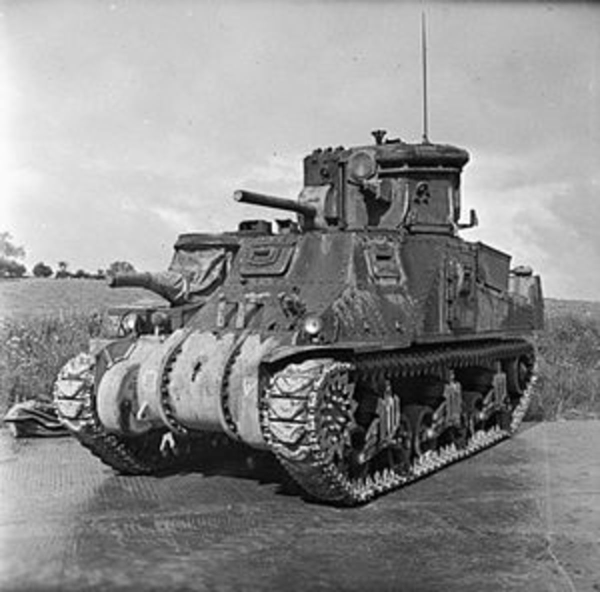 Tank fitted with powerful dazzle lights to protect advancing forces.