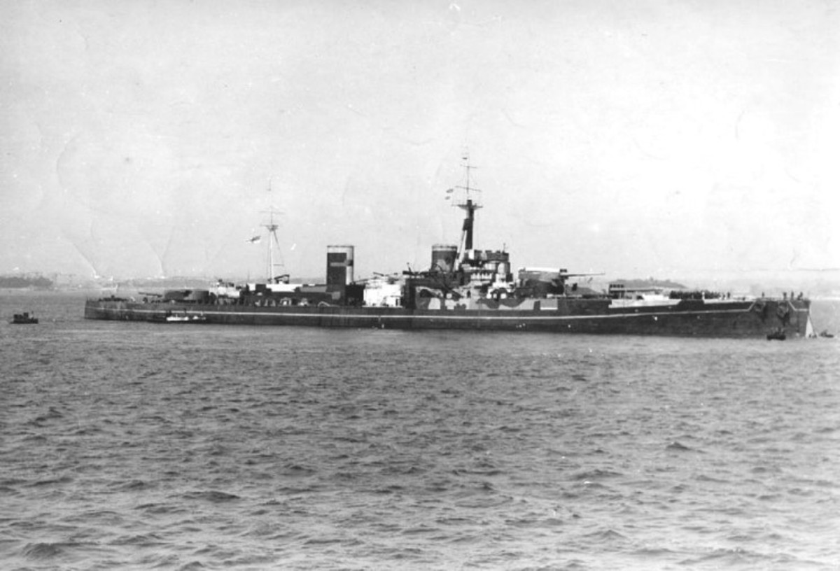 HMS Centurion disguised to look like HMS Anson but with wooden guns