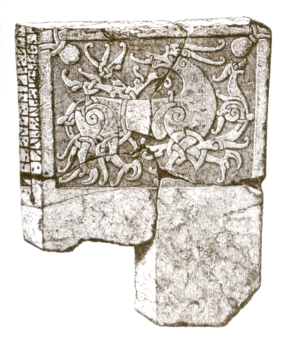 Lithograph of the carving on the St. Paul's Tombstone.
