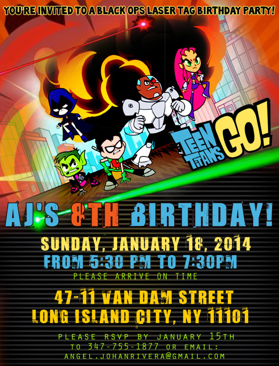 Personalized Teen Titans Go party invitations