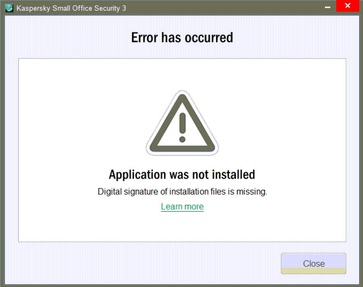 Kaspersky error digital signature on KSOS