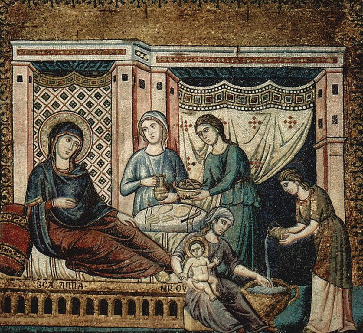 Pietro Cavallini, Nativity of Christ (a. 1296), Rome Church of Santa Maria in Trastevere