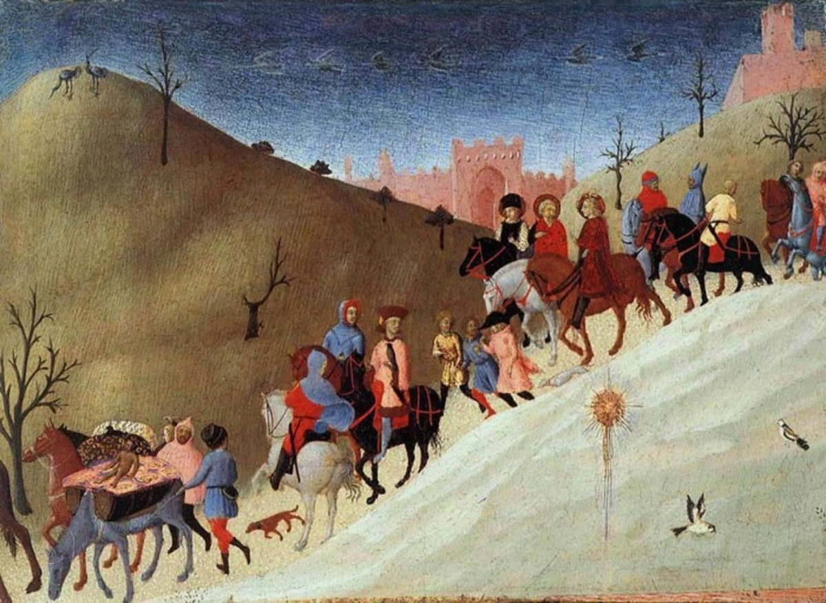 Sassetta, Procession of the Magi (1435), New York Metropolitan Museum of Arts - The painting is part of a dismembered panel. The other part, depicitng the adoration of the Magi, is in a private collection in Siena.