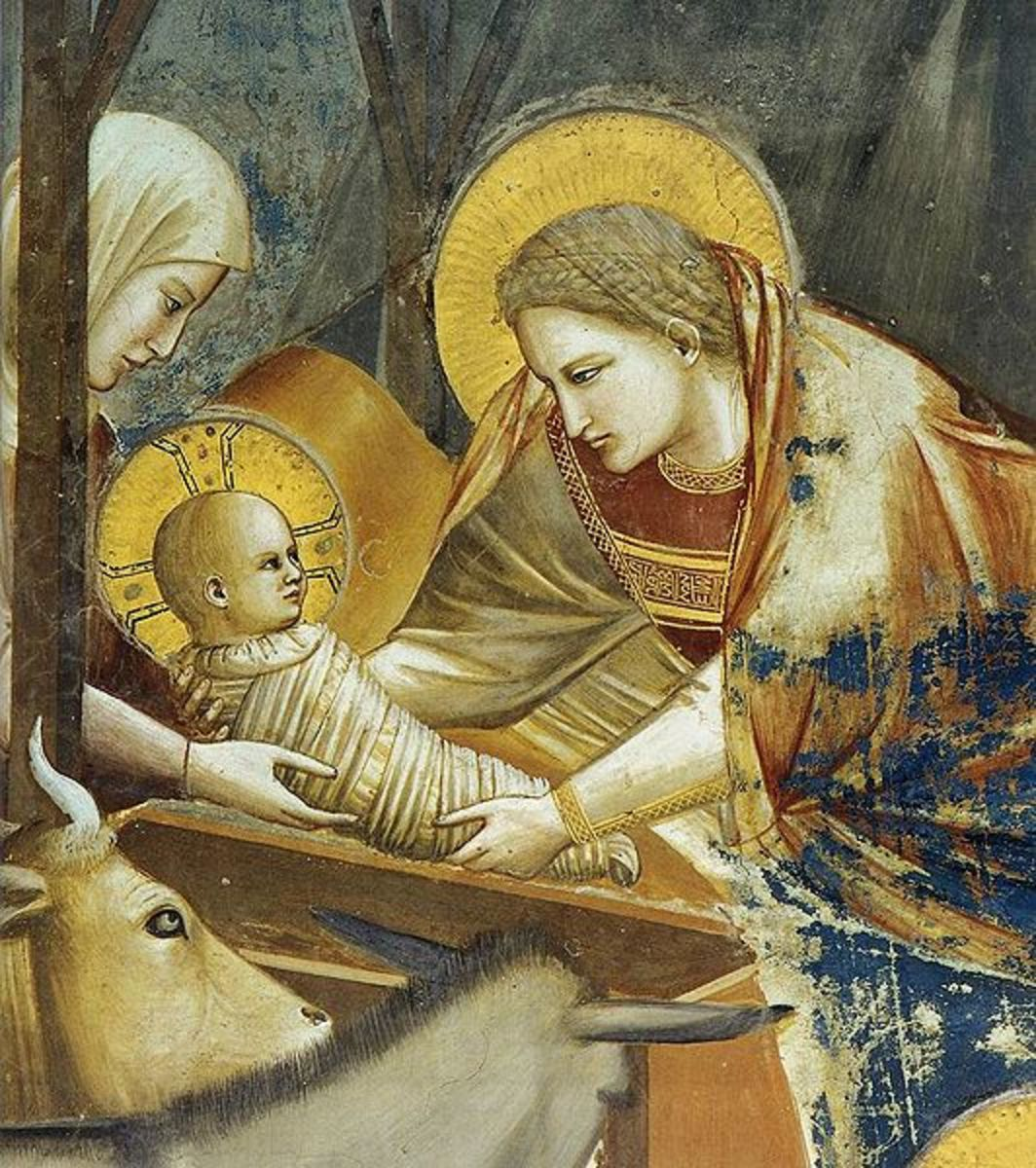 Giotto, Nativity and the Shepherds Announcement (1305), Padua Cappella degli Scrovegni - Detail